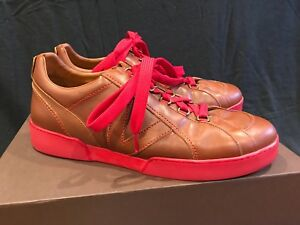 38c456bae48 RARE LOUIS VUITTON Sneaker Brown Leather w  RED BOTTOM Shoes LV 9.5 ...