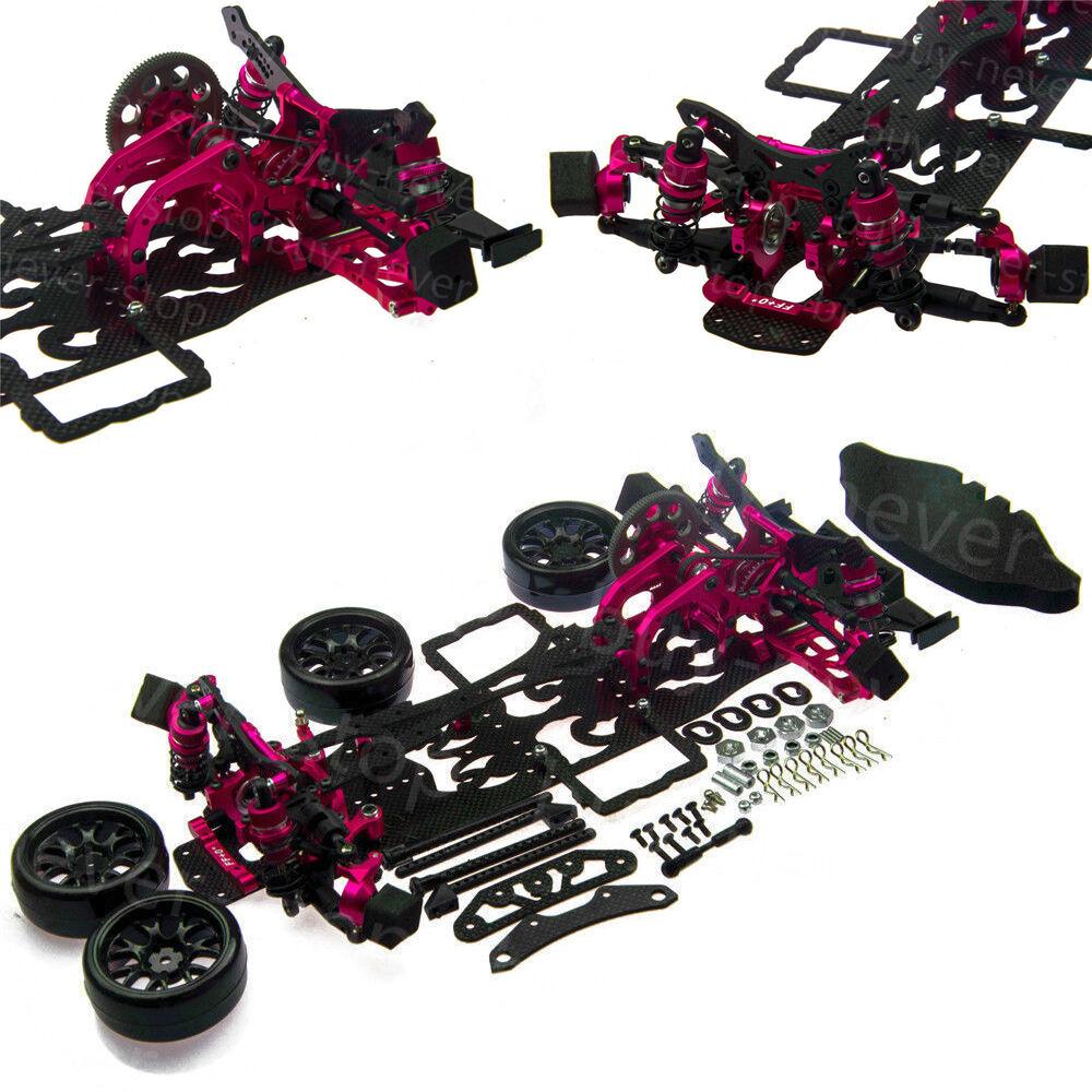1/10 Alloy & Carbon SAKURA D4 RWD Drift Racing Car Frame Body Kit w/ 4 Wheels