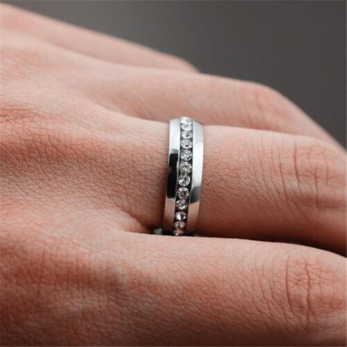 Men Women Couple Stainless Steel Wedding Ring Titanium Engagement Band Sz7-11 CZ