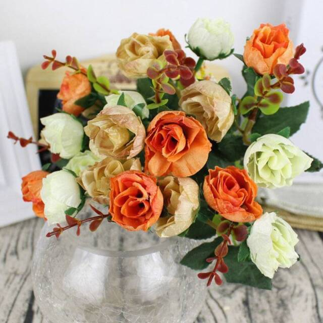 21 Heads Artificial Fake Silk Rose Dried Flower Bouquet Wedding