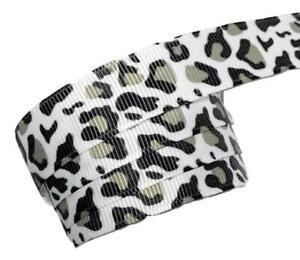 "5 yards Snow leopard print 5//8/"" grosgrain ribbon by the yard DIY bows"