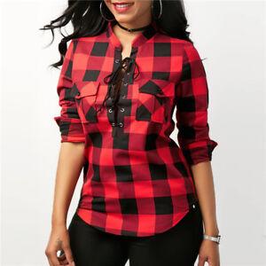 948674f51bb2 Details about Camisas de Cuadros Para Mujer Blusa Chaquetas de Vestir  Blusas Elegantes Rojas