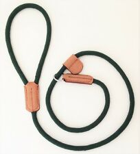 HAND MADE GREEN ROPE SLIP LEAD LOOP OVER HEAD LEASH STRONG LEATHER TAB GUNDOG