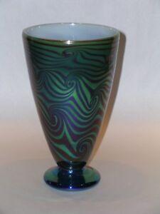 Rick-Strini-Luster-Cone-Vase-Art-Glass-Cabinet-Series-Handblown-Blue-Iridescent