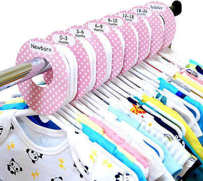 Baby Wardrobe Dividers Sweet Dreams Design Pack of 8 Arrange Clothes by Size