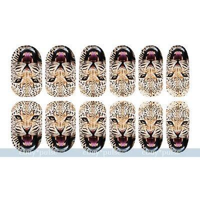 New 12pc 3D Nail Art Leopard Tiger Animal Decal Luminous Glow Full Wraps Sticker