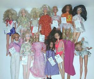 vintage 60 s 70 s 80 s barbie hasbro mattel kenner dolls lot of