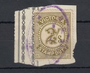 Australia-Victoria-QV-2-Stamp-Duty-Revenue-On-Piece-J2462
