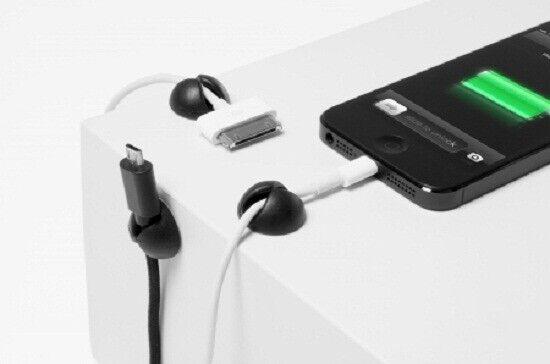 BlueLounge CABLE DROPS 6Pcs Holds Thunderbolt & Apple 30-Pin Connectors BLACK