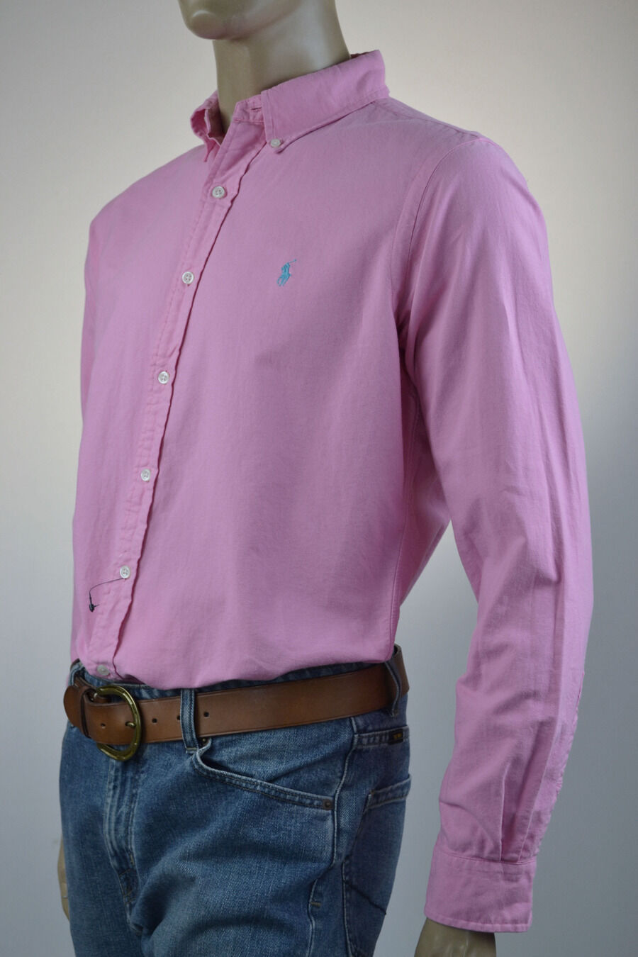 Ralph Lauren Pink Long Sleeve Oxford Cotton Shirt  Turquoise- Pony -NWT