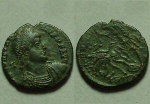 Constantius II spearing fallen enemy horse rider, battle/Rare ancient Roman coin