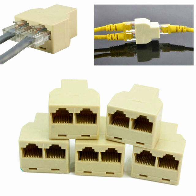 5x rj45 ethernet lan network y splitter 2 way adapter 3 ports coupler split  1/