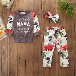aa5d4818d UK Girls Kids Children Baby Floral 2PCS Shirts+Pants Clothes Autumn ...