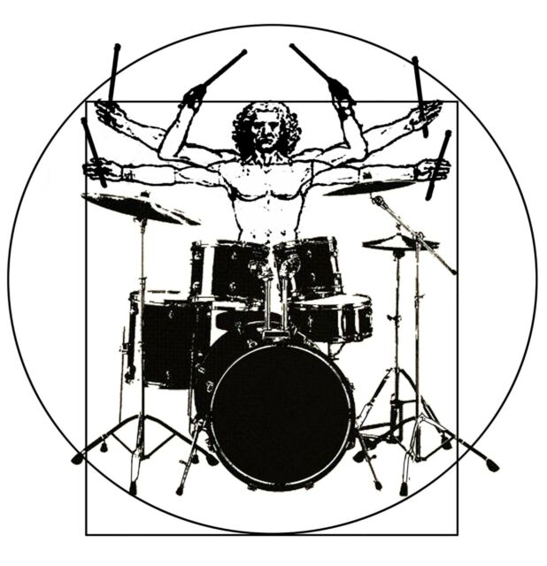 Drumer Vitruvian Man T Shirt Drum Set Print Music T Shirts original Funny Design