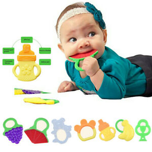 Cute-Toddlers-Infants-Baby-Teething-Toys-Soft-Silicone-Fruit-Teether-Holder-2019
