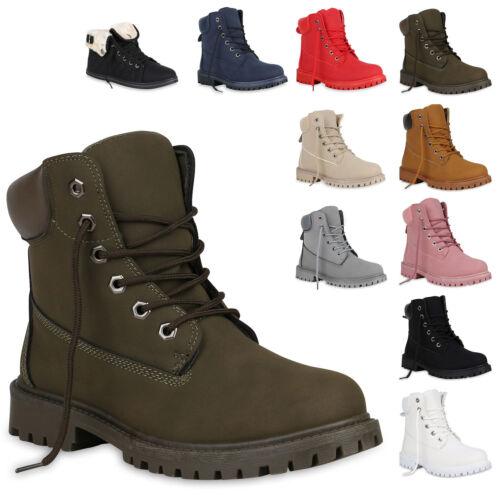 893357 Damen Stiefeletten Outdoor Schuhe Profilsohle Worker Boots New Look