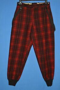 Vintage 80s Woolrich Black Red Buffalo Plaid Wolle Jagd Herren Hosen 32 x 31