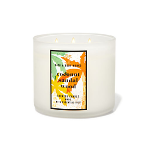 ☆COCONUT SANDAL WOOD☆BATH & BODY WORKS 3 WICK CANDLE 14.5 OZ☆FREE SHIPPING