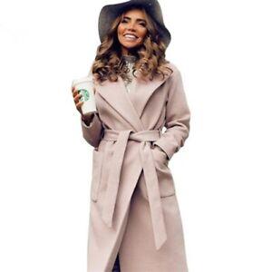lowest price d6790 6b958 Dettagli su Cappotto Donna Lana Lungo Cappottino Cammello Invernale Giacca  Parka Trench Slim