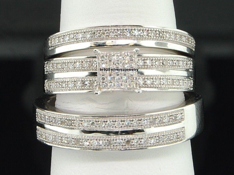 Mens Womens Round Diamond Engagement Wedding Trio Ring Set 14K White gold Finish