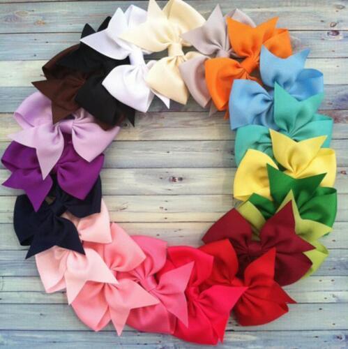 20pcs 3 Boutique Hair Bows Girls Kids Children Alligator Clip Grosgrain Ribbon