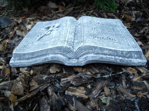 "Grabschmuck Buch /""Ruhe in Frieden/""  Steinguss  Frostfest Wetterfest Grab Deko"