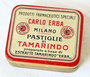 Farmacia-PASTIGLIE-DI-TAMARINDO-Carlo-Erba-Milano-Antica-Scatola-di-Latta
