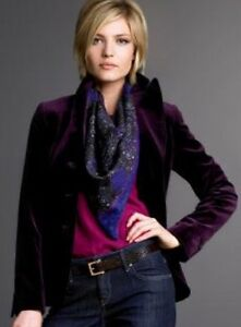 New Women s J.CREW Velvet Bella Jacket Purple Plum Coat Blazer Lined ... d8cc5bb8543f