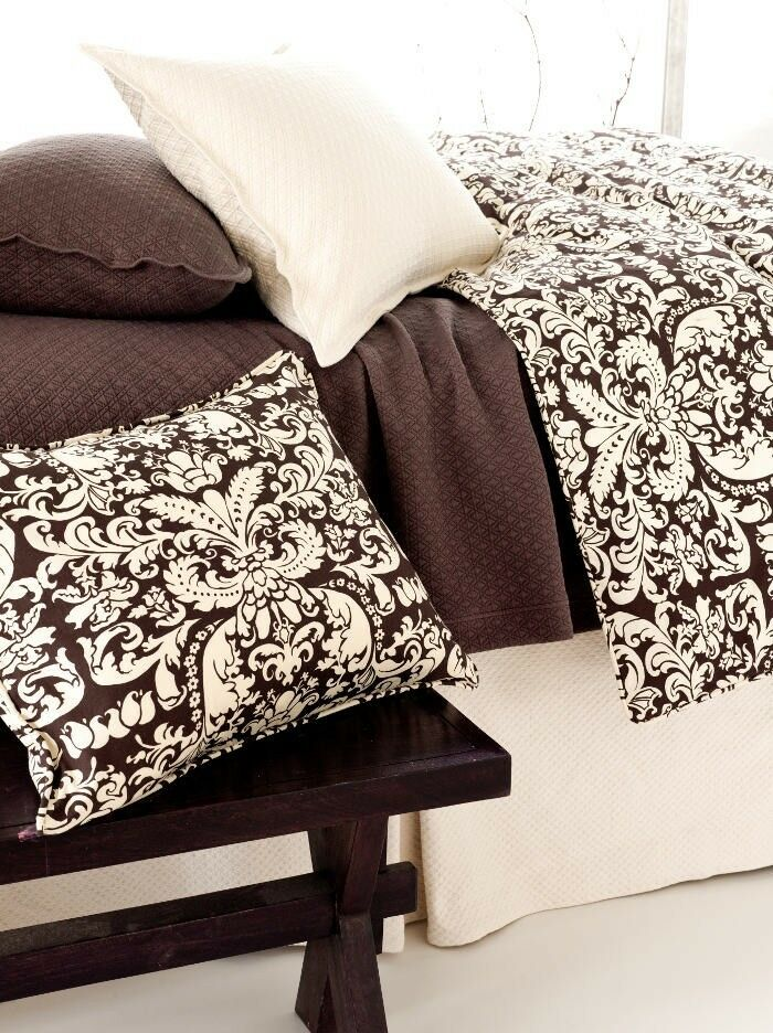 Chocolate Brown & Ivory Twin Duvet Cover - Pine Cone Hill Gianna Damask