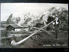 Switzerland~SWISS ALPHORN BLOWER~EXTRA LONG !  RPPC