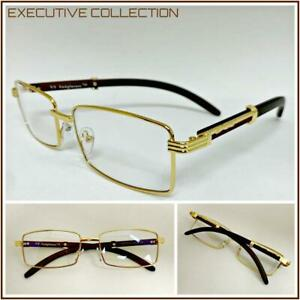 New Men/'s CLASSY SOPHISTICATED ELEGANT Clear Lens EYE GLASSES Rimless Wood Frame
