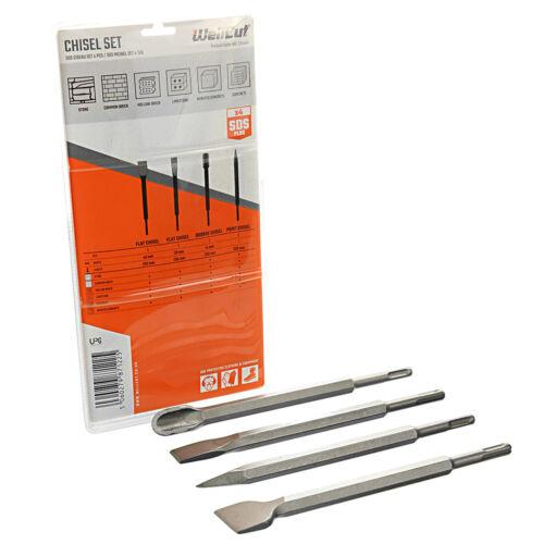 Wellcut punto de Cincel SDS Plus 4 piezas martillo Drill Bit Set 250mm D-40559
