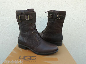 Image is loading UGG-MAAVERIK-LODGE-BROWN-TEXTURED-LEATHER-BUCKLE-BOOTS-