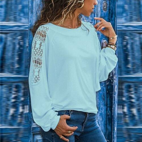 Plus Size Womens Lace Loose T Shirt Ladies Long Sleeve Baggy Casual Tops Blouse