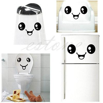 Creative Toilet Smiling Face Bathroom DIY Decal Funny Vinyl Sticker Wall Art