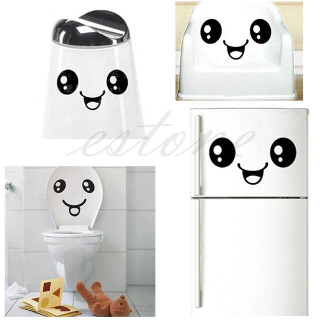 Creative Toilet Smiling Face Bathroom DIY Decal Funny Sticker Wall Art HOT