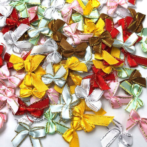 100pcs Mini Satin Ribbon Flowers w//gold edge Bows Gift Wedding Decoration A344