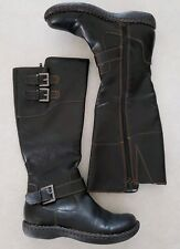 4b24cde1a030 BOC Born Womens 6 Riding Boots Shoes Brown Buckle Plaid Lined 6M Knee Over  Calf