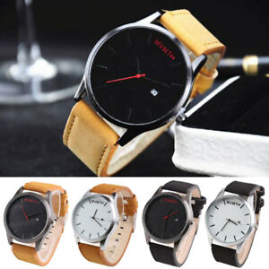 Fashion-Mens-Women-Analog-Sport-Wrist-Stainless-Steel-Case-Leather-Quartz-Watch