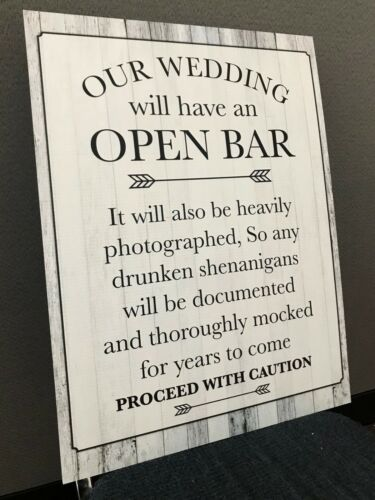 Wedding Open Bar Sign