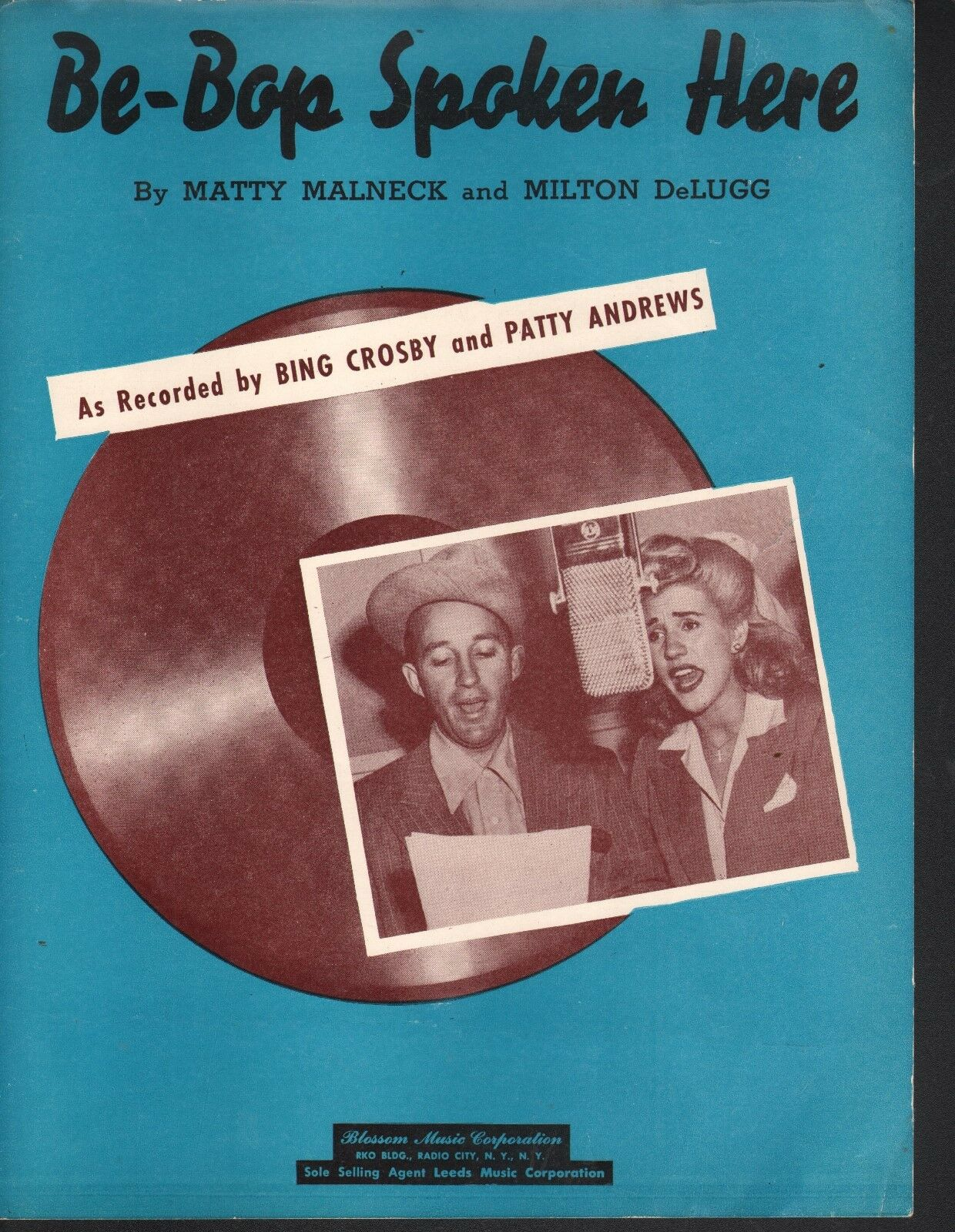 Be Bop Spoken Here 1949 Bing Crosby Patty Andrews Sheet Music