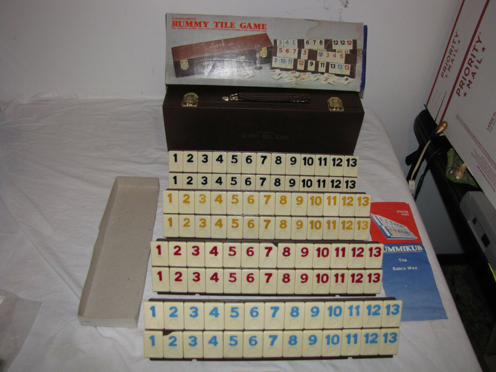 1983 TournaSiet Rummy Tile Game With Leather Carrying Case with Original Box