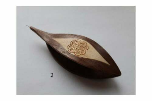 Wooden Tatting Shuttle With Built-in Crochet Hook Hand Made in Walnut