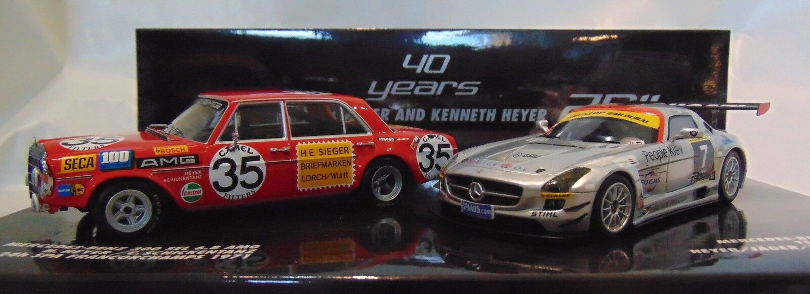 2 Car Set  Kenneth HEYER  mercedes AMG sls + SEL 6.8  1 43 Minichamps