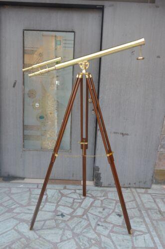 Marine Navy Nautical Brass Telescope Double Barrel With Floor Tripod Stand