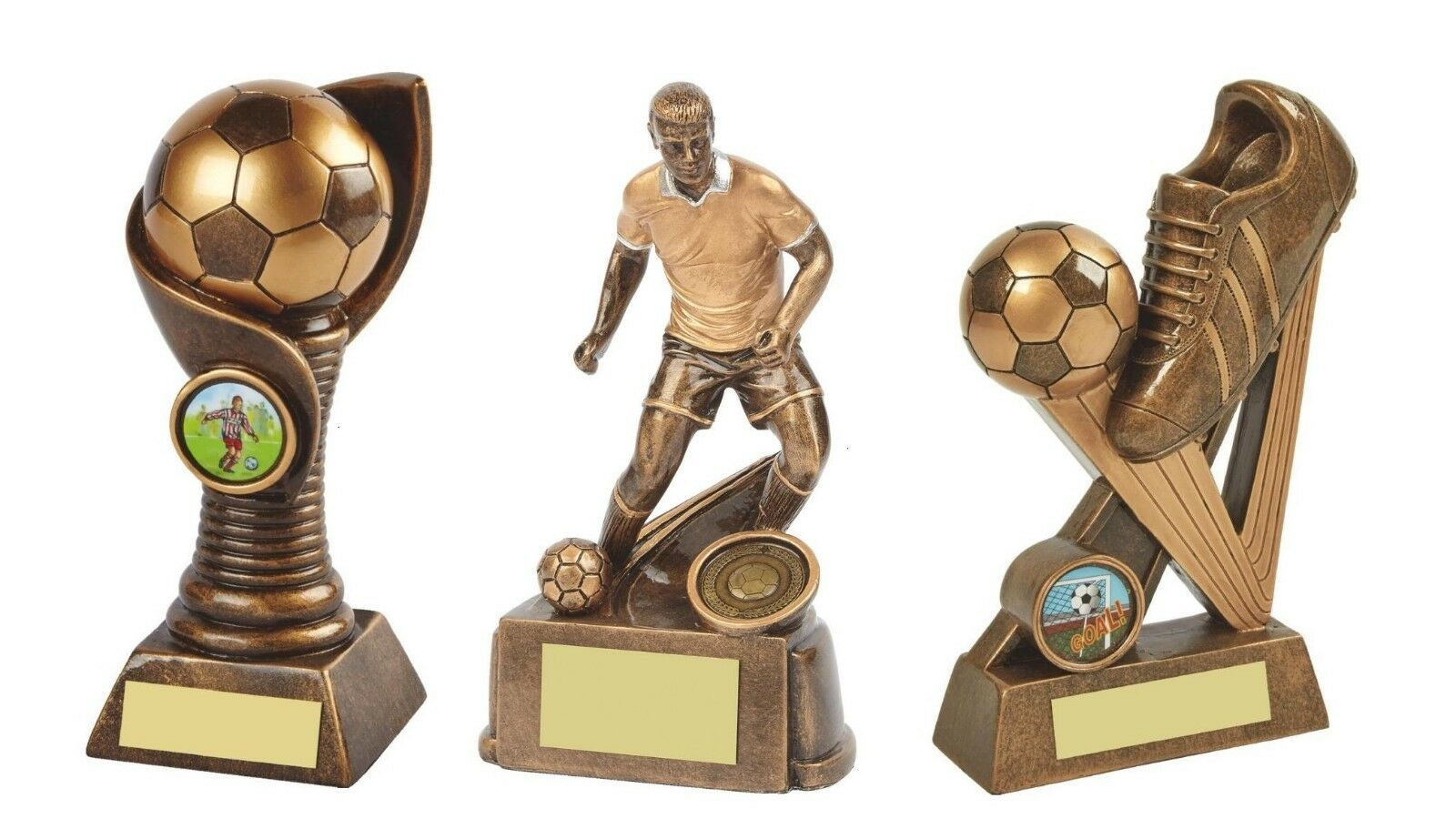 3 x 7 inch Football Trophy Awards engraved + postage free (RRP .85)