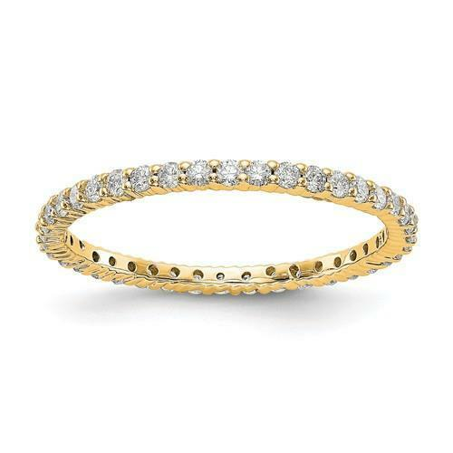 14k Yellow gold Round Diamond Eternity Ring Shared Prong 1.50mm Wide Size 9 G VS