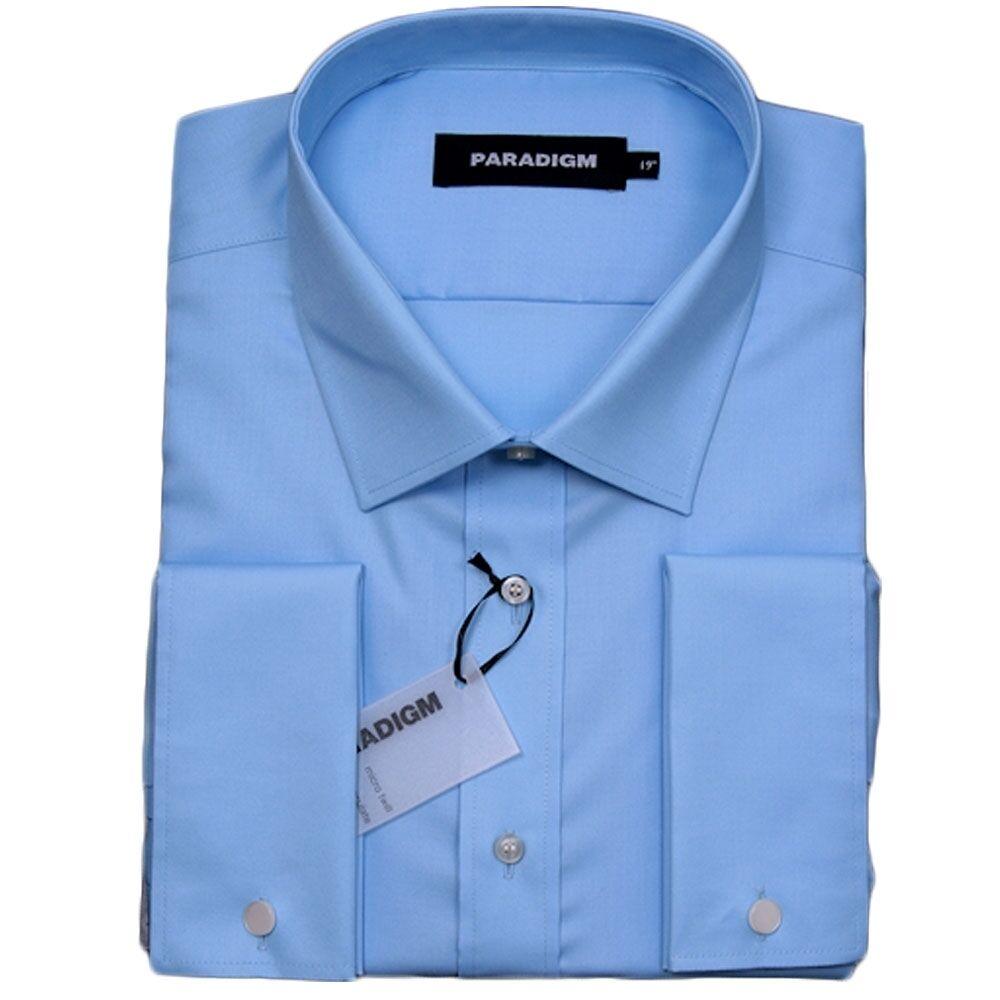PARADIGM Puro Cotone Non Stirare DC Camicia Formale Blu - 18.5  SRP .00