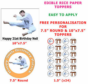 Image Is Loading Personalised Karate Martial Art Birthday Cake Cupcake Toppers
