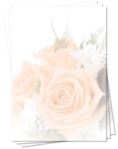schöne lachsfarbene Rosen Blumen-5165 DIN A4 100 Blatt Motivpapier Briefpapier